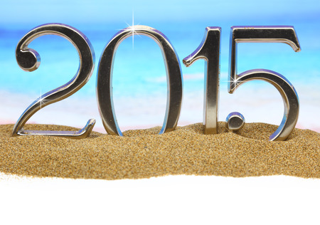 Year 2015 numbers on the beach