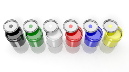Six cans full with various colors paint isolated  photo
