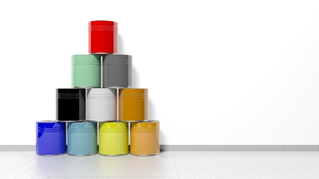 paint cans: Stacked cans with paint on the floor