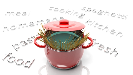 Pot with spaghetti, various cooking related text around it photo