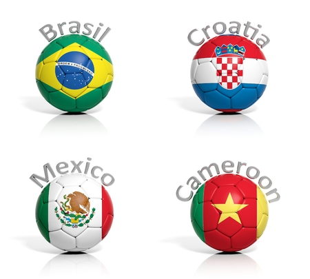 Group of soccer balls Brazil,Mexico,Cameroon,Croatia isolated photo