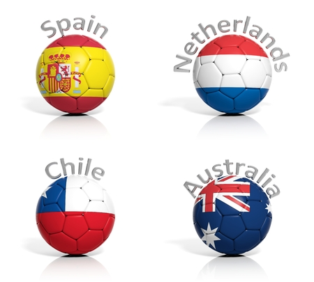 Group of soccer balls Spain,Netherlands,Chile,Australia, isolated photo