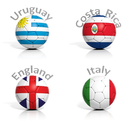 Group of soccer balls Uruguay,Costa Rica,England,Italy isolated photo