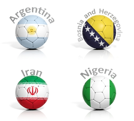 Group of soccer balls Argentina,Bosnia and Herzegovina,Iran,Nigeria photo