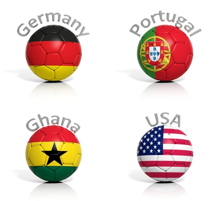 Group of soccer balls Germany,Portugal,Ghana,USA isolated photo