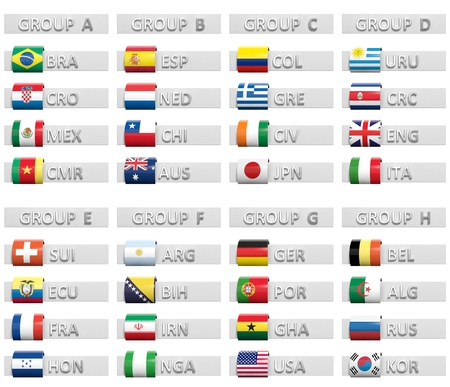 esp cards: Table with group score charts with national flags isolated Stock Photo