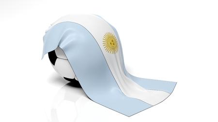 bandera argentina: Balón de fútbol clásico con la bandera de Argentina en él. Foto de archivo