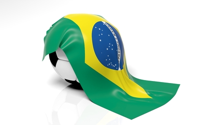 Classic soccer ball with flag of Brazil on it.  photo