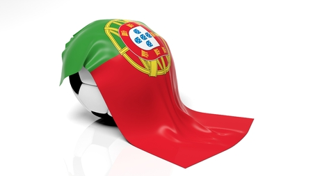 Classic soccer ball with flag of Portugal on it.  photo