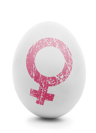 ovarios: Clara de huevo con s�mbolo femenino de color rosa aisladas en blanco