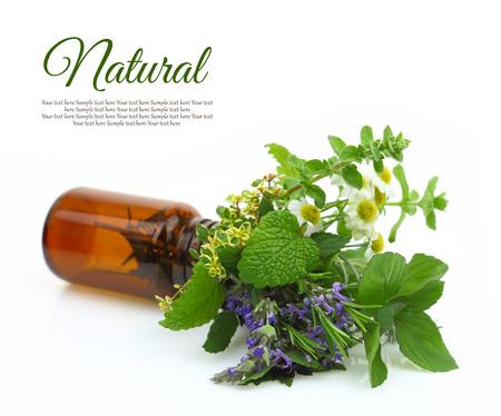 Verse kruiden in een medische fles