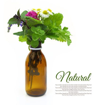Fresh herbs in a medical bottle photo