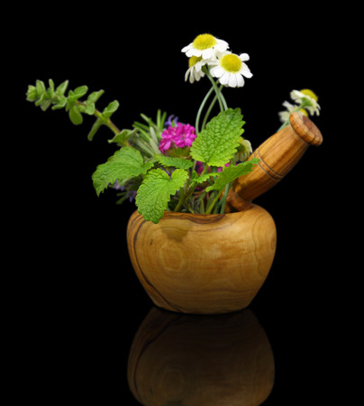 Mortar and pestle with fresh herbs on black background photo