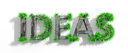 #27555745   Holz Ideen Wort Mit Grünem Gras Wachstum Isoliert