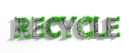 Wooden Recycle word with green grass growth isolated  photo