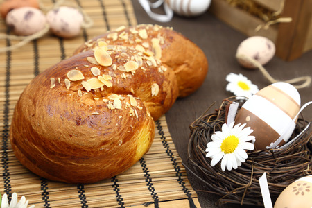 Easter bread and decoration eggs photo