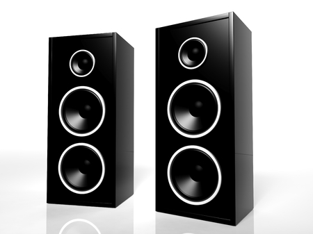 Two black speakers isolated on white background  photo