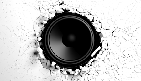 White wall breaks from sound with loudspeaker illustration