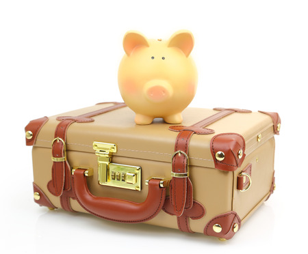 Closed brown suitcase with piggy bank on top of it photo