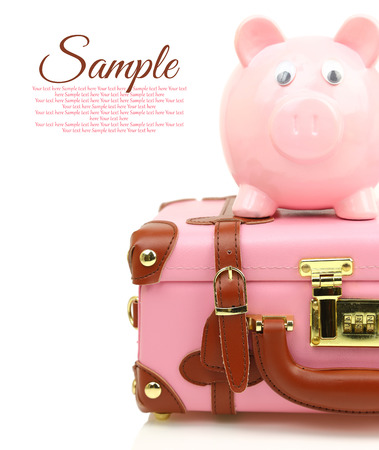 Pink suitcase with piggy bank and copy-space photo