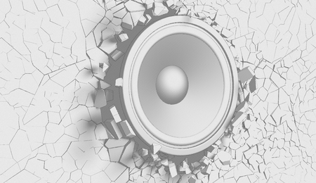woofer: White wall with cracks with loudspeaker sketchy illustration