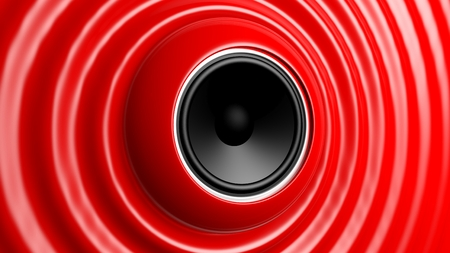speed of sound: Speaker with red abstract capillary wave  Stock Photo
