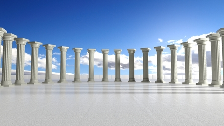the romans: Ancient marble pillars in elliptical arrangement with blue sky