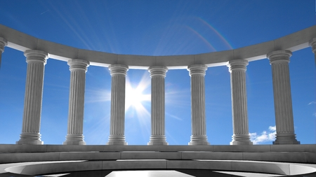 Ancient marble pillars in elliptical arrangement with blue sky  photo