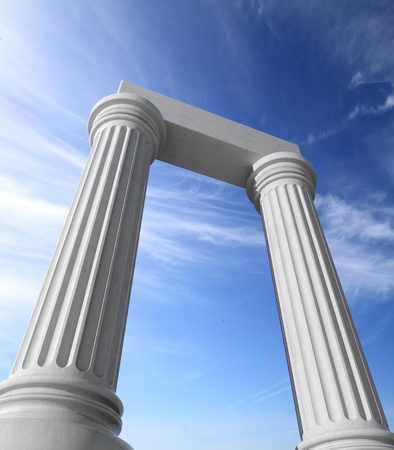 roman pillar: Two white ancient marble pillars with blue sky