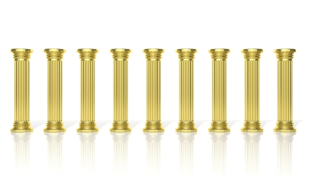 greek temple: Ancient gold pillars in a row isolated on white  Stock Photo