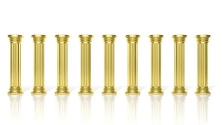 templo griego: Pilares de oro antiguas en una fila aislados en blanco Foto de archivo