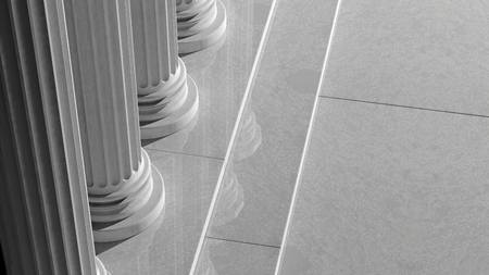 White marble pillars in a row with steps    photo