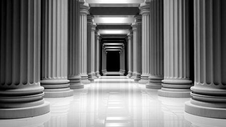 건물 내부에있는 행에 흰 대리석 기둥