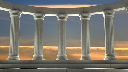 Ancient marble pillars in elliptical arrangement with orange sky Stock Photo
