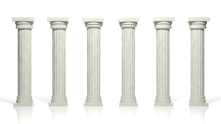 Ancient marble pillars in a row isolated on white  photo