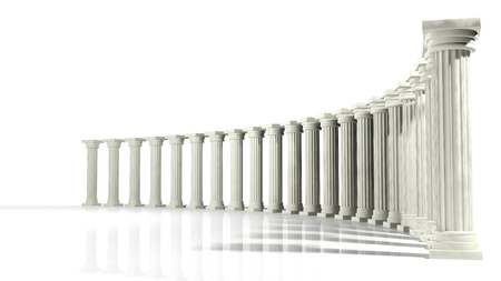 Ancient marble pillars in elliptical arrangement isolated on white  Stock Photo
