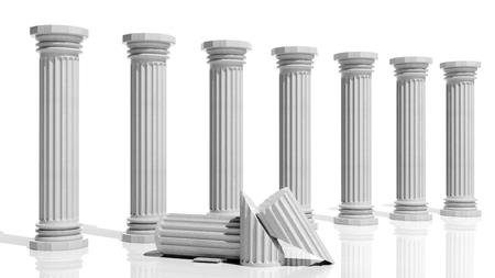 templo romano: Columnas de mármol antiguas en una fila aislados en blanco