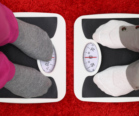 weight loss success: Females feet on bathroom scales