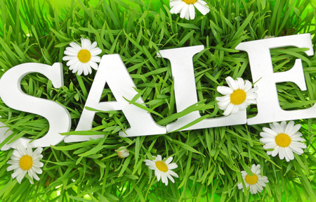 flower shop: Grass with flowers and white text Sale on it