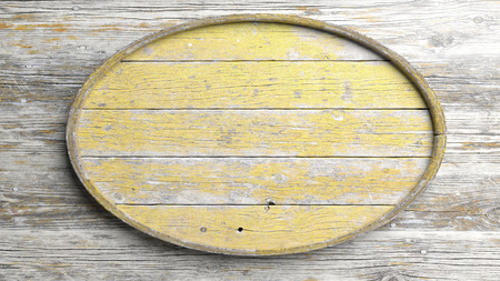 elliptic: Old elliptic wooden sign on wood wall background
