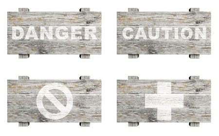 Old wooden signs set with word stamps isolated photo