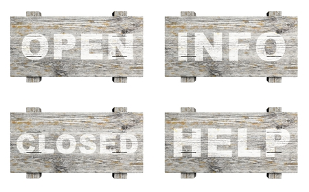 Old wooden informative signs set with word stamps isolated photo