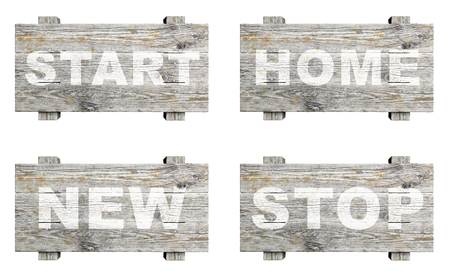 informative: Old wooden informative signs set with word stamps isolated