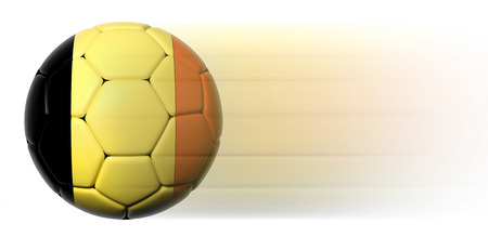 Soccer ball with Belgian flag in motion isolated photo