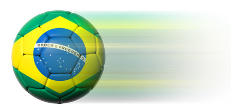 Soccer ball with Brazilian flag in motion isolated photo
