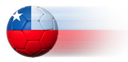 bandera chilena: Bal�n de f�tbol con la bandera chilena en el movimiento aislado