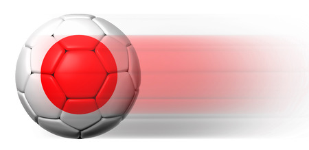 Soccer ball with Japanese flag in motion isolated  photo