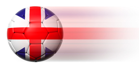 Soccer ball with British flag in motion isolated  photo