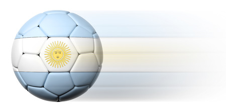 argentinian flag: Soccer ball with Argentinian flag in motion isolated