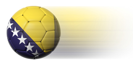 Soccer ball with Bosnia and Herzegovina flag in motion isolated photo